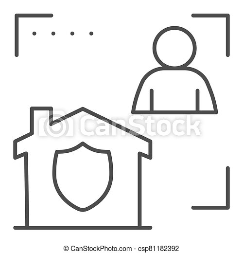 Man with house in frame and security emblem thin line icon, smart home symbol, identity autorization vector sign white background, person recognition process icon outline style. Vector graphics. - csp81182392