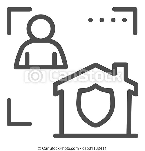 Man with house in frame and security emblem line icon, smart home symbol, identity autorization vector sign white background, person recognition process icon outline style. Vector graphics. - csp81182411