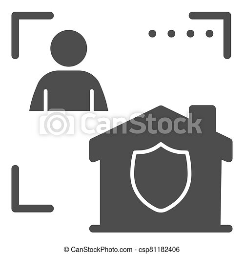 Man with house in frame and security emblem solid icon, smart home symbol, identity autorization vector sign white background, person recognition process icon glyph style. Vector graphics. - csp81182406