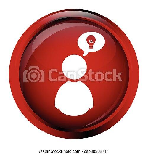 Man with idea sign button icon - csp38302711