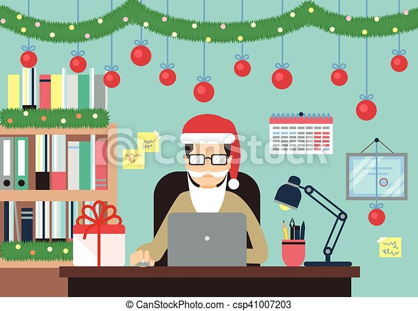Man With Laptop In Christmas Decorations