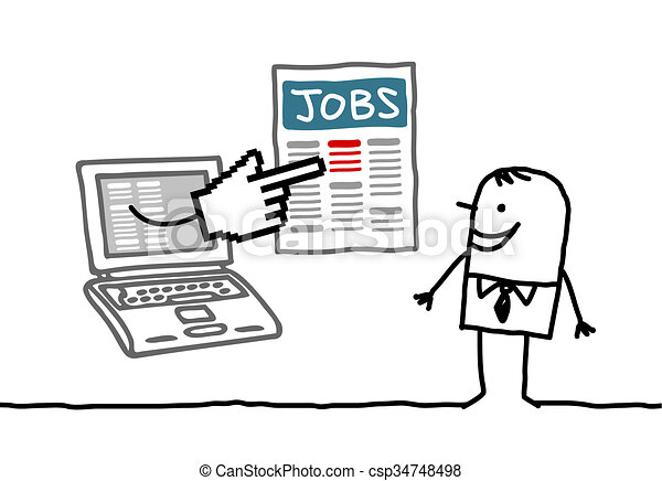 Man With Laptop Looking For A Job Hand Drawn Cartoon Characters