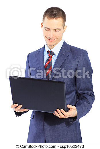man with laptop on a white background - csp10523473