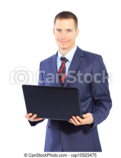 man with laptop on a white background - csp10523475