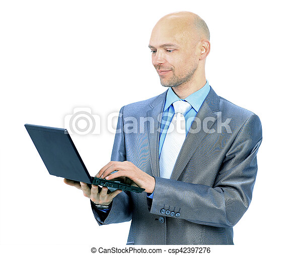 man with laptop on a white background - csp42397276