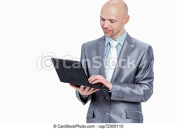 man with laptop on a white background - csp72300110