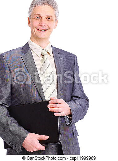 man with laptop on a white background - csp11999969