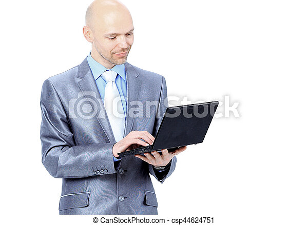 man with laptop on a white background - csp44624751