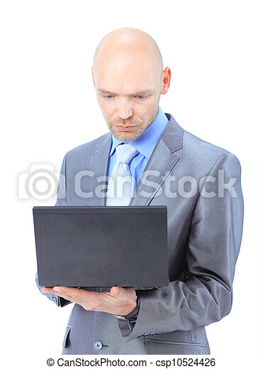man with laptop on a white background - csp10524426