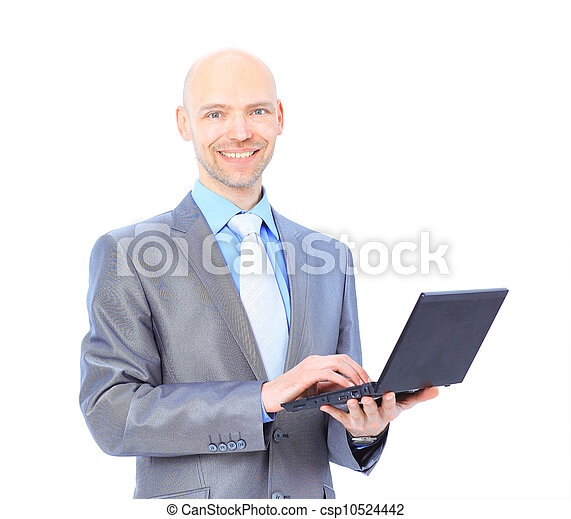 man with laptop on a white background - csp10524442
