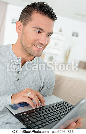 man with laptop - csp52954316
