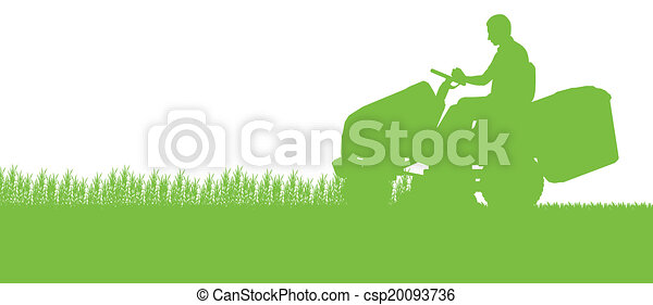 Man with lawn mower tractor cutting grass in field landscape abstract background illustration - csp20093736