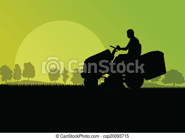 Man with lawn mower tractor cutting grass in field landscape abstract background illustration vector - csp20093715