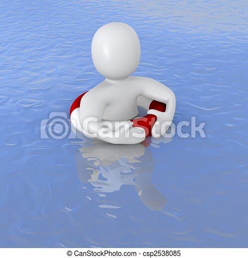 Man with life ring in ocean. 3d rendered illustration. - csp2538085