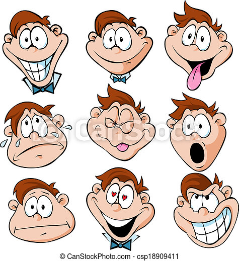 man with many facial expressions - csp18909411