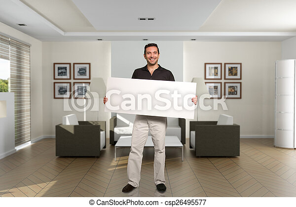 Man with message at home - csp26495577