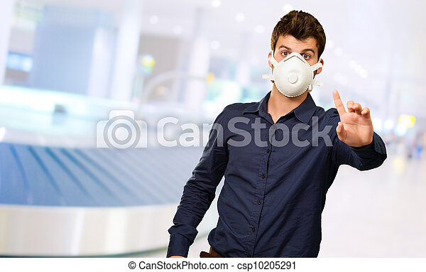 Man With Mouth Mask - csp10205291