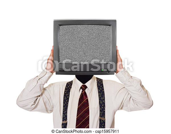 Man with noisy tv screen for head - csp15957911