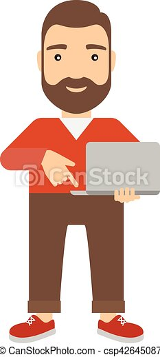 Man with notebook presses button on keyboard. - csp42645087