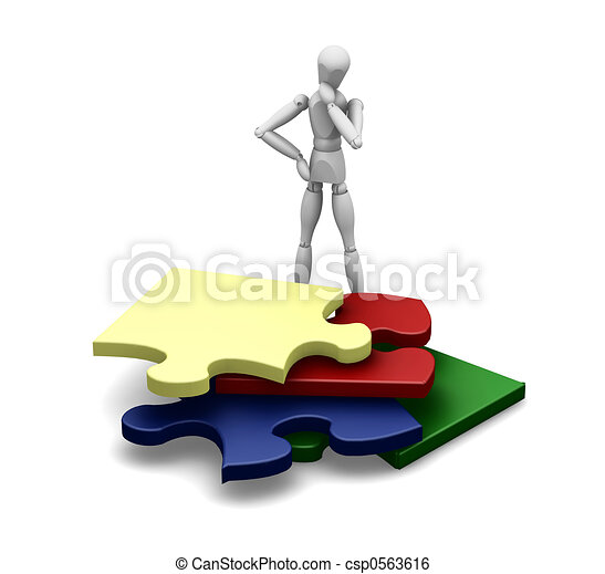 Man with puzzle pieces - csp0563616