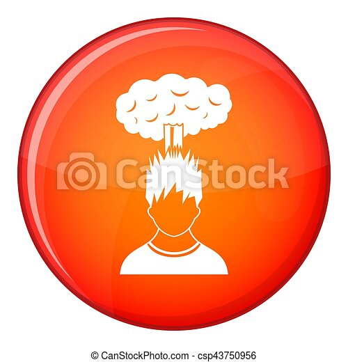 Man with red cloud over head icon, flat style - csp43750956