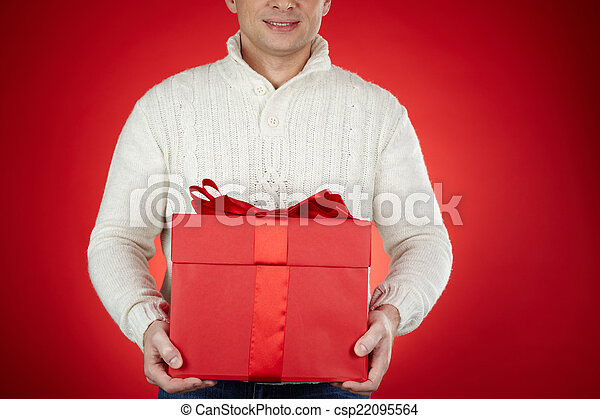 Man with red giftbox - csp22095564