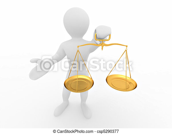 Man with scale. Symbol of justice - csp5290377