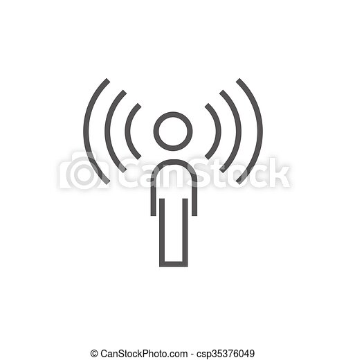 Man with soundwaves line icon. - csp35376049