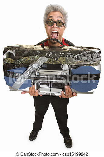 Man with Taped Boom Box - csp15199242