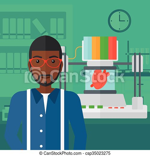 Man with three D printer. - csp35023275