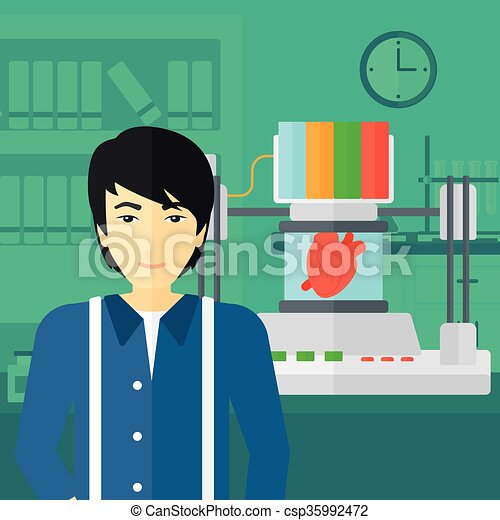 Man with three D printer. - csp35992472