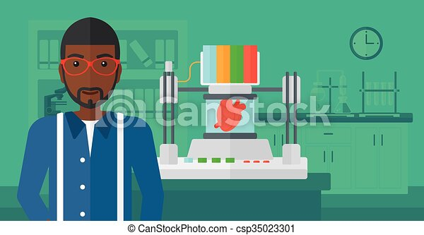 Man with three D printer. - csp35023301