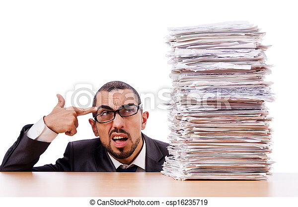 Man with too much work to do - csp16235719