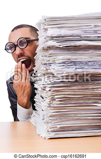 Man with too much work to do - csp16162691