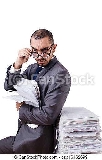 Man with too much work to do - csp16162699