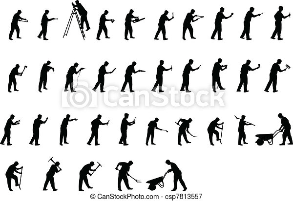 man with tools silhouettes - csp7813557