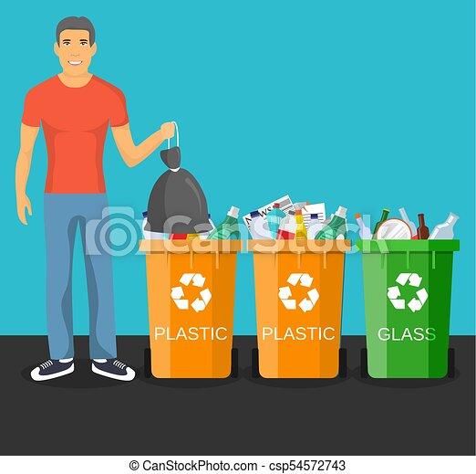 man with trash vector illustration. - csp54572743