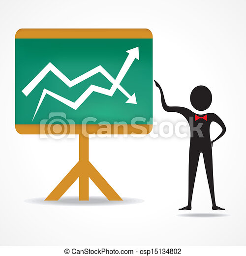 man with up and down business graph - csp15134802