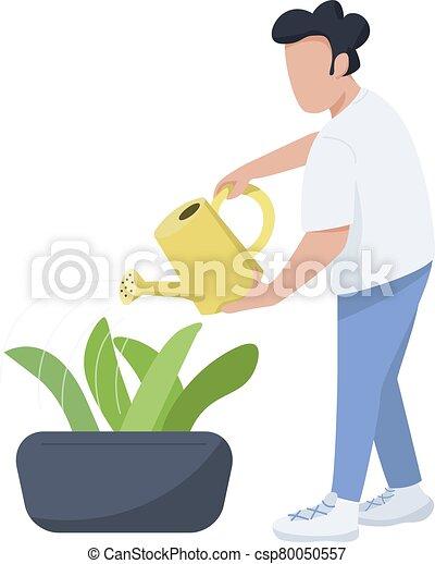 Png Man Watering Flower Plants - Watering The Plants Drawing, Transparent  Png , Transparent Png Image - PNGitem