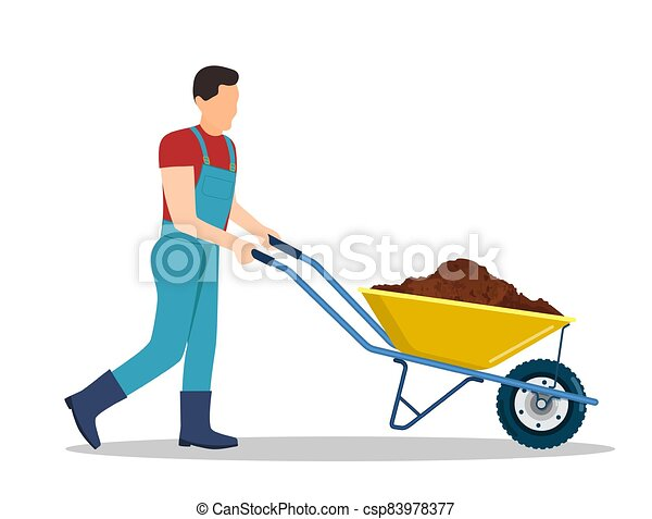 Man pushing a wheelbarrow clipart. Commercial use GIF, JPG, WMF, SVG clipart  # 160271 | Graphics Factory