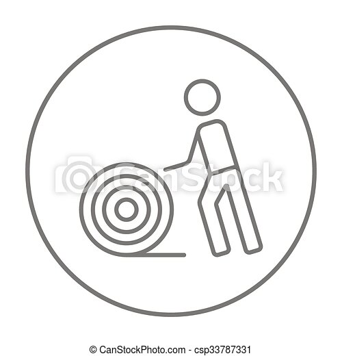 Man with wire spool line icon. Man with wire spool line icon ...