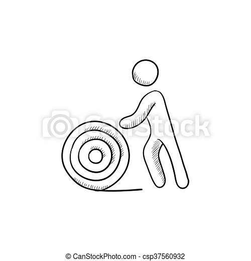Man with wire spool sketch icon. Man with wire spool vector ...