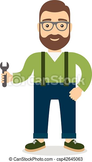 Man with wrench. - csp42645063