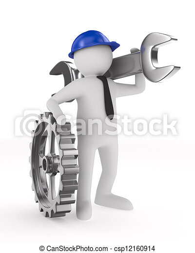 Man with wrench on white background. Isolated 3D image - csp12160914