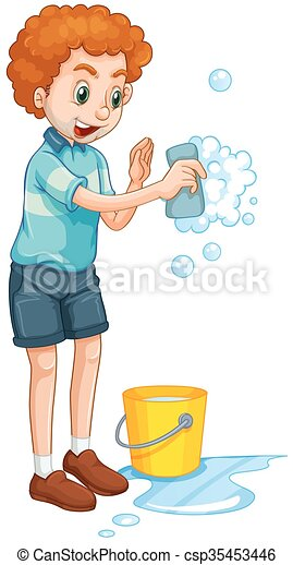 Man with yellow bucket and cleaning sponge - csp35453446