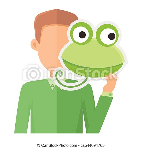 man without face with frog mask isolated on white boy in clip rh canstockphoto com frog vector face