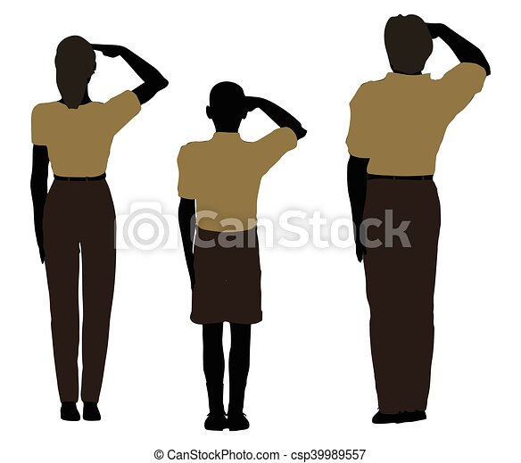 man, woman and a child silhouette in Military Salute pose - csp39989557