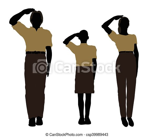man, woman and a child silhouette in Military Salute pose - csp39989443