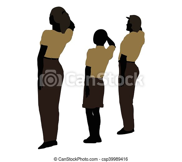 man, woman and a child silhouette in Military Salute pose - csp39989416