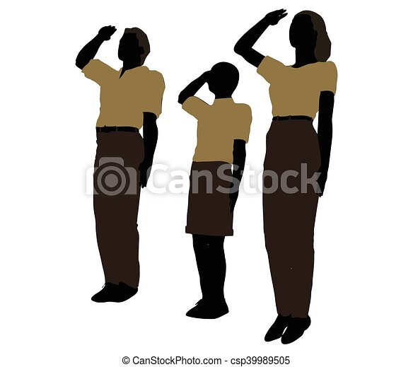 man, woman and a child silhouette in Military Salute pose - csp39989505